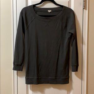 J Crew dark grey cotton raglan crew sweatshirt S